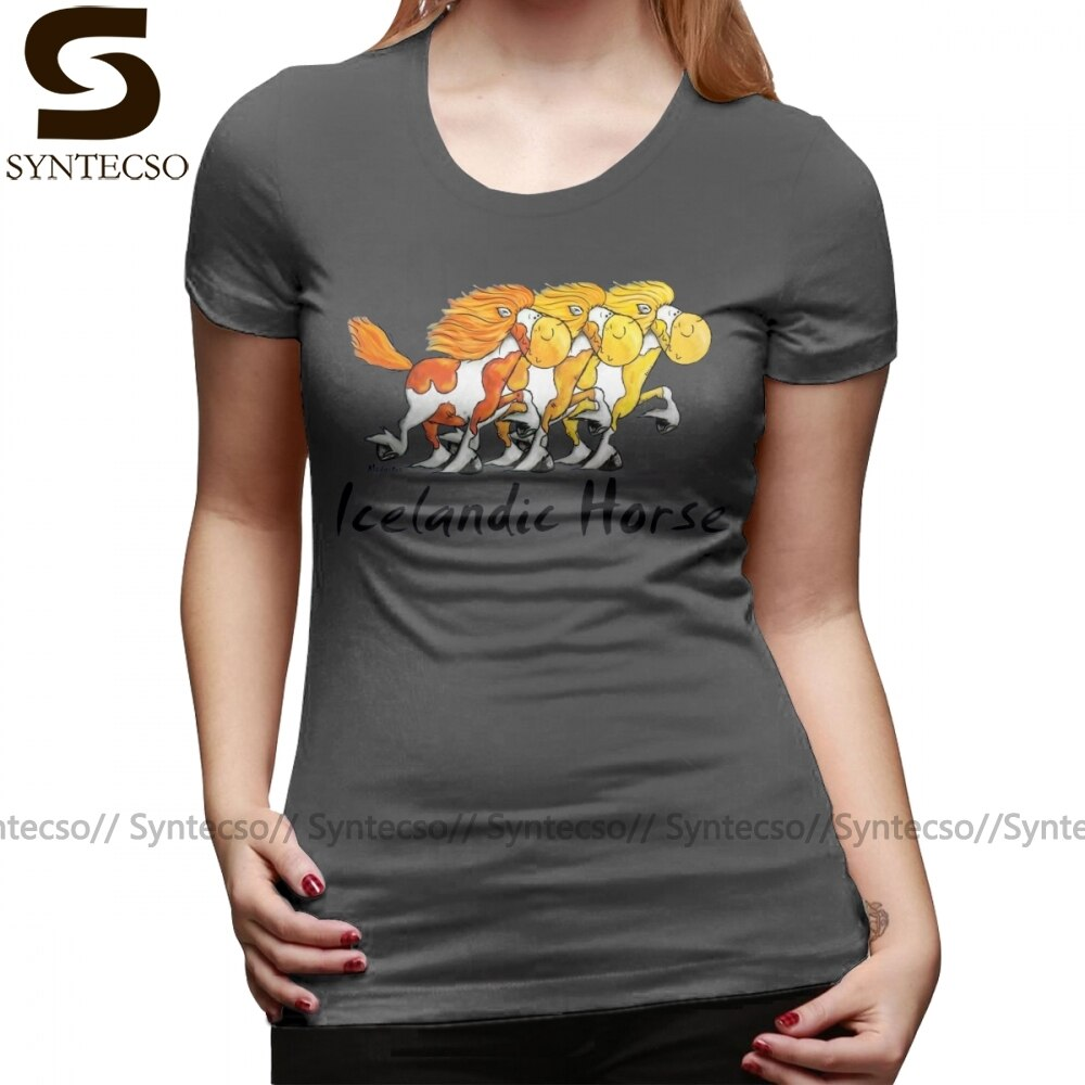 Camiseta de caballo islandesa throw Island Horse Comic regalo Camiseta de manga corta Simple mujer Camiseta cuello redondo señoras camiseta