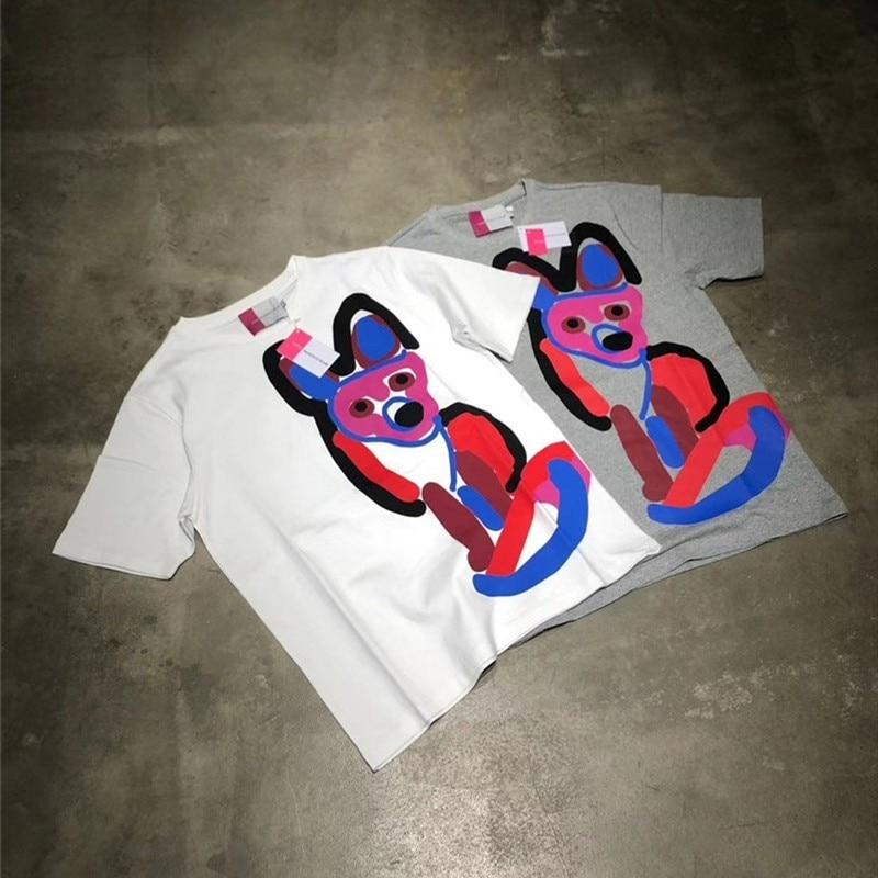 2020ss Maison KITSUNE Fox Printing Women Men Casual T shirts tees Hiphop Streetwear Men Cotton Short Sleeve T shirt