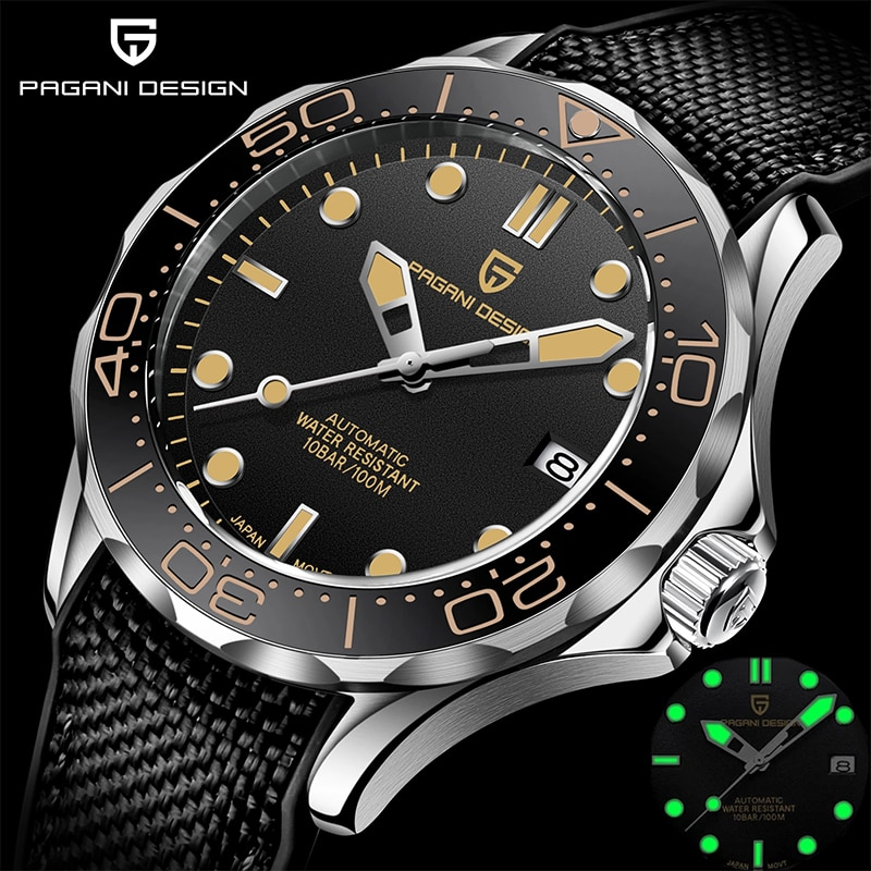 PAGANI تصميم التلقائي ساعة ميكانيكية للرجال العلامة التجارية الفاخرة الرجال الساعات نمط الأعمال حزام نايلون مقاوم للماء ساعات المعصم