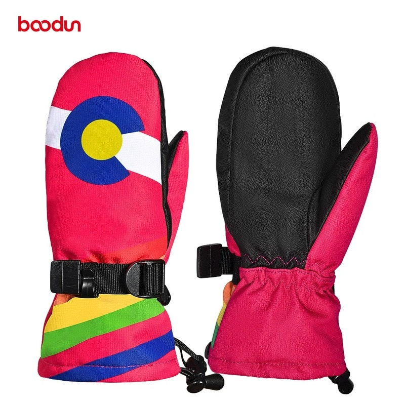 Зимние лыжные перчатки BOODUN, Детские водонепроницаемые лыжные перчатки для катания на лыжах, Детские теплые зимние перчатки для сноуборда д...