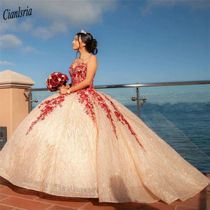 Sparkly Sequined Tulle Red Appliques Ball Gown Quinceanera Dresses Sweetheart Sleeveless Beading Sweet 15 Prom Pageant Dress