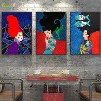 Toile dart mural de fille a fleurs colorees  peinture nordique moderne  images murales pour decoration de maison  sans cadre