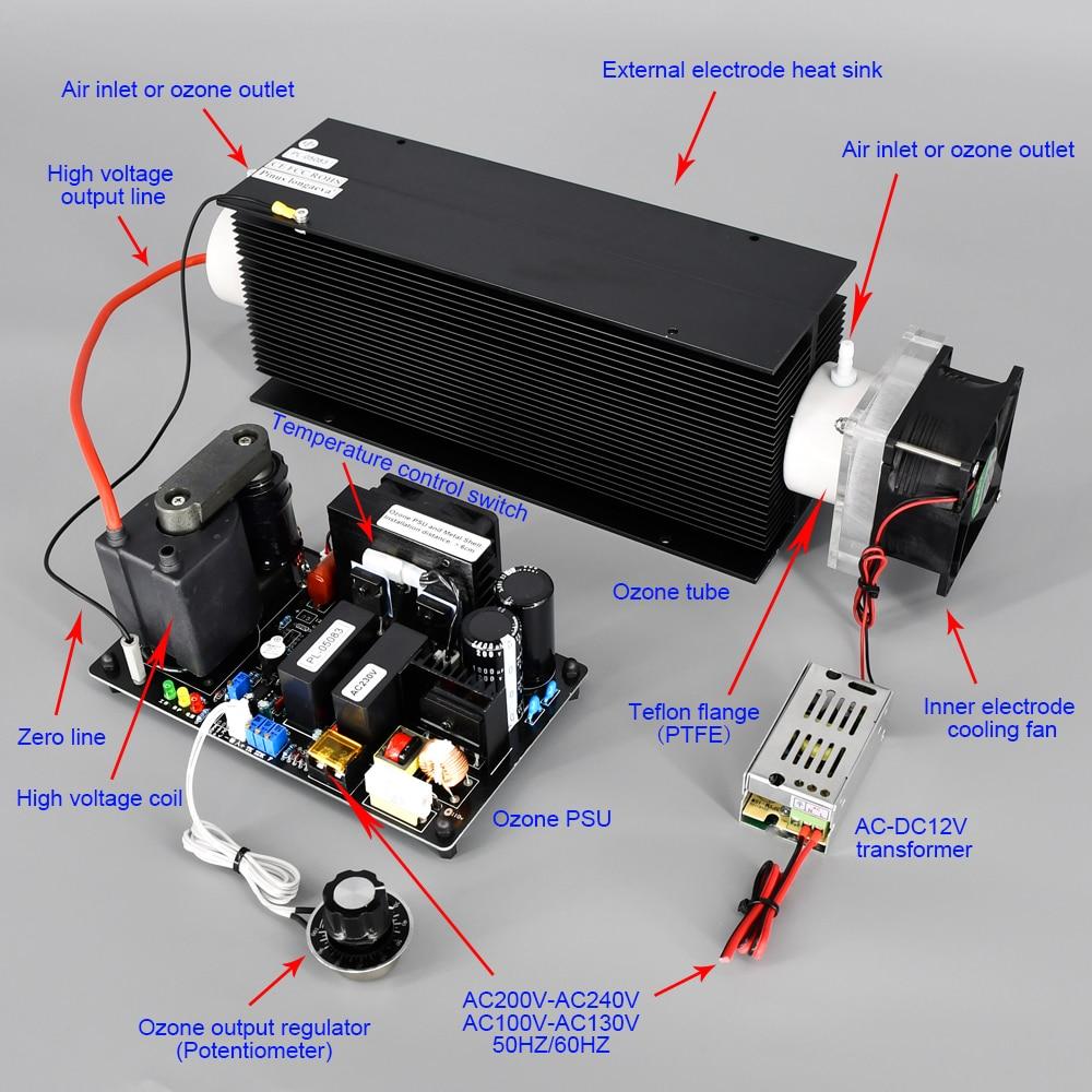 Ce fcc rohs patenteou o produto 40g 30 g/h 40 gramas plc ajustável 4-20ma 0-10v 0-5v ozônio gerador casa ar água ozono terapia