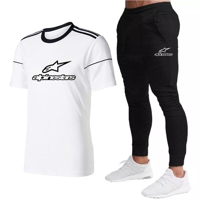 Мужские комплекты из 2 предметов, спортивные костюмы, футболки с рукавами, новые модные, свободные, сезон 2021