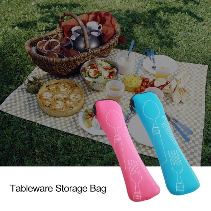1pcs Set Dinnerware Portable Printed Stainless Steel Spoon Fork Steak Knife Set Travel Cutlery Tableware With Bag Storage Bag
