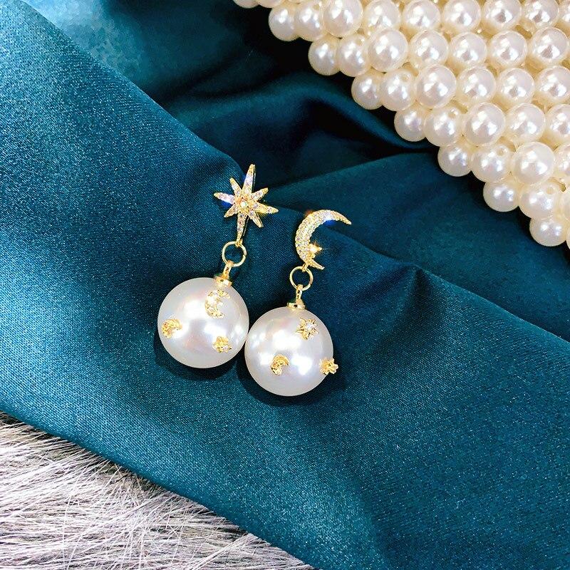 USTAR New Pearl Drop Earrings for Women Vintage Moon Star Dangle Earring Statement Fashion Wedding Jewelry Gifts