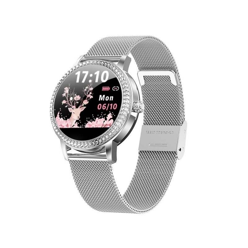 Relógio de Aço Inoxidável com Diamante Relógio Inteligente Feminino Bluetooth Pulseira Tela Colorida Freqüência Cardíaca Moda Esportes 2021 Lw20