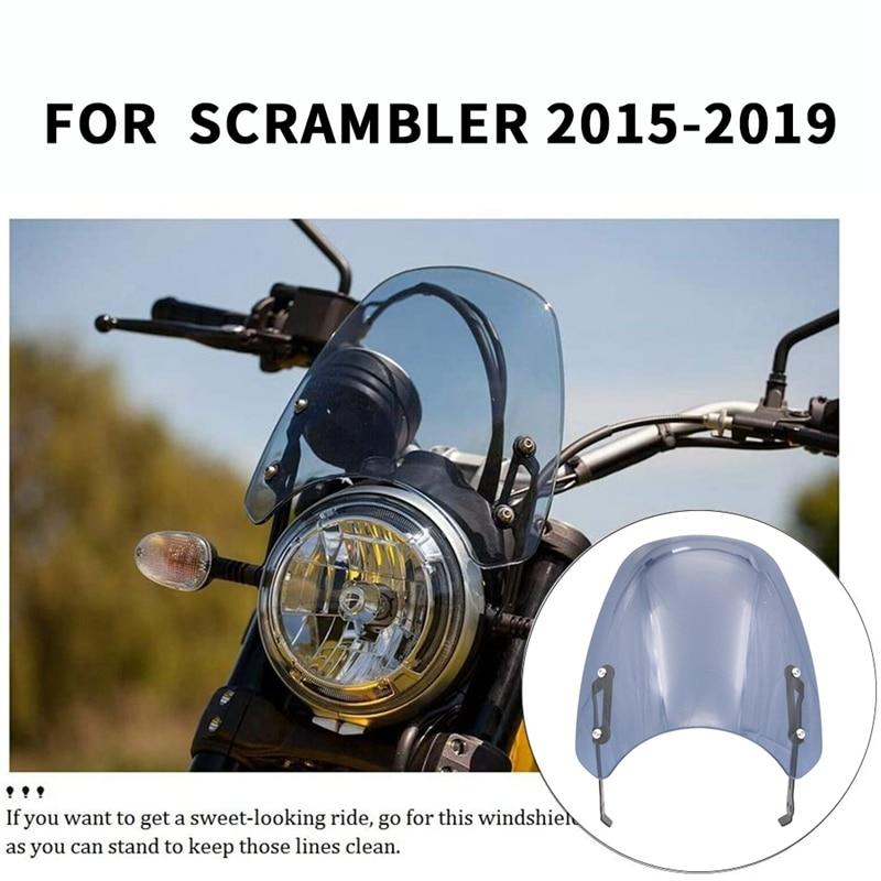 Parabrisas delantero Flysn para motocicleta Sn para Ducati Scrambler 2015-2019 (humo ligero)