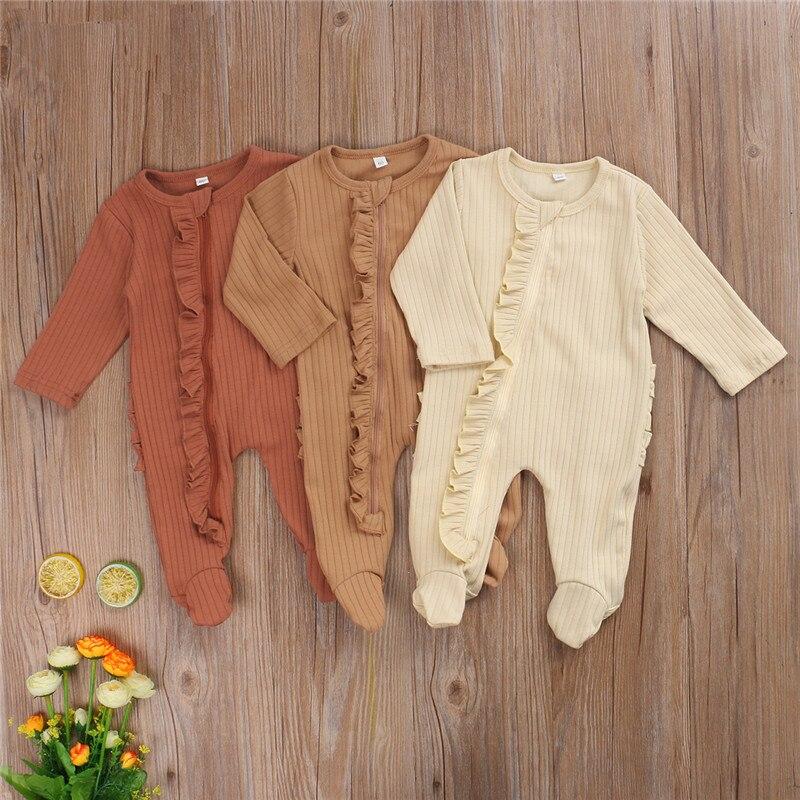 Baby Girls Romper Newborn Sleepsuit Baby Ruffles Rompers 2020 Infant Baby Clothes Long Sleeve Newborn Jumpsuits Pajamas