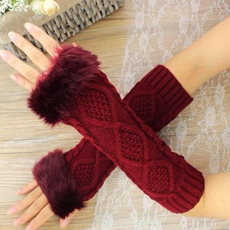 Женские теплые вязаные перчатки без пальцев длинные зимние теплые перчатки для рук зимние теплые женские перчатки для рук