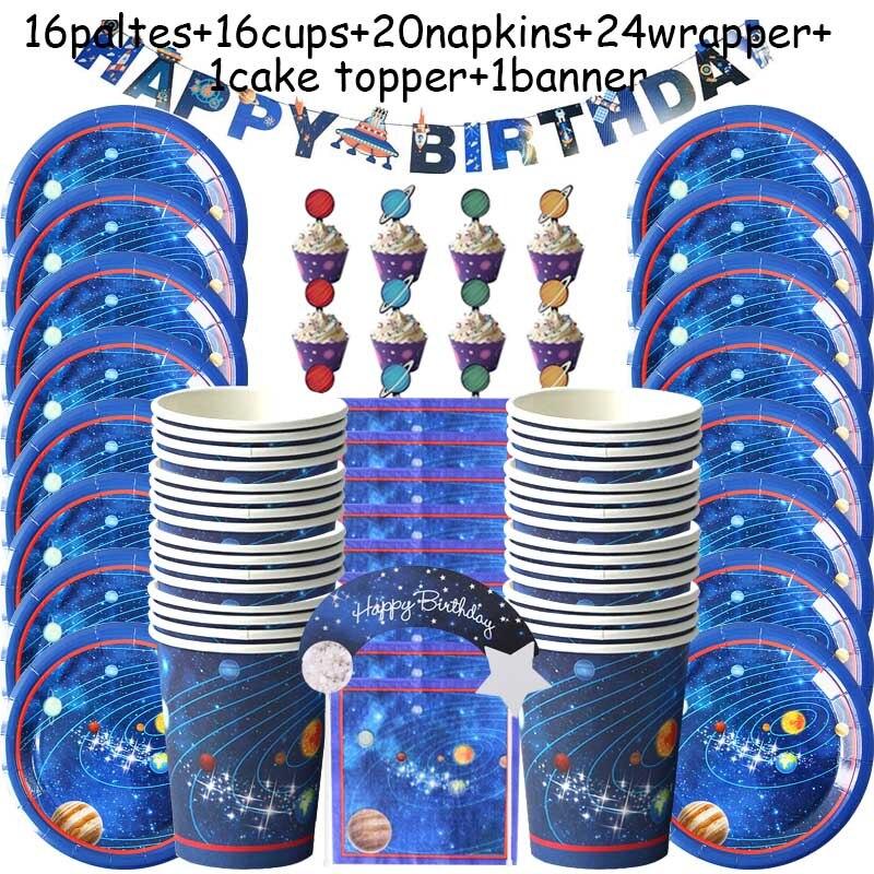 Купить с кэшбэком Outer Space Party LED Lights Astronaut Rocket Mars Spaceship String Light Galaxy Solar System Party Boy First Birthday Supplies
