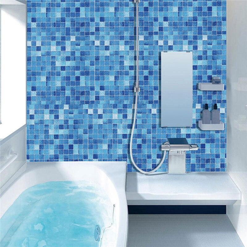 Kitchen Oil Proof Mosaic Sticker Self Adhesive Wall Sticker Blue Plaid DIY Warerproof Wallpaper For Kitchen Bathroom 0816#