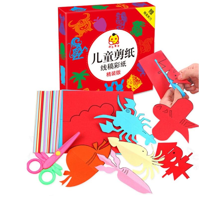 Montessori brinquedos diy brinquedo 3d diversão aprendizagem precoce origami papel-corte livro artesanato kits para crianças brinquedos de criatividade para criança 5-7 anos