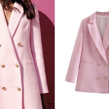 ZA 2021 Ladies Spring and Autumn Fashion Double-breasted Pink Slim Fit Blazer Coat Retro Pocket Ladi