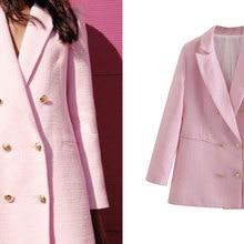 ZA 2021 Ladies Spring and Autumn Fashion Double-breasted Pink Slim Fit Blazer Coat Retro Pocket Ladi