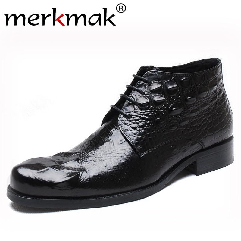Merkmak Men Shoes Fashion Crocodile Pattern Ankle Booties 2019 New Autumn Male Lace-up Oxford Booties Big Size Male Footwear