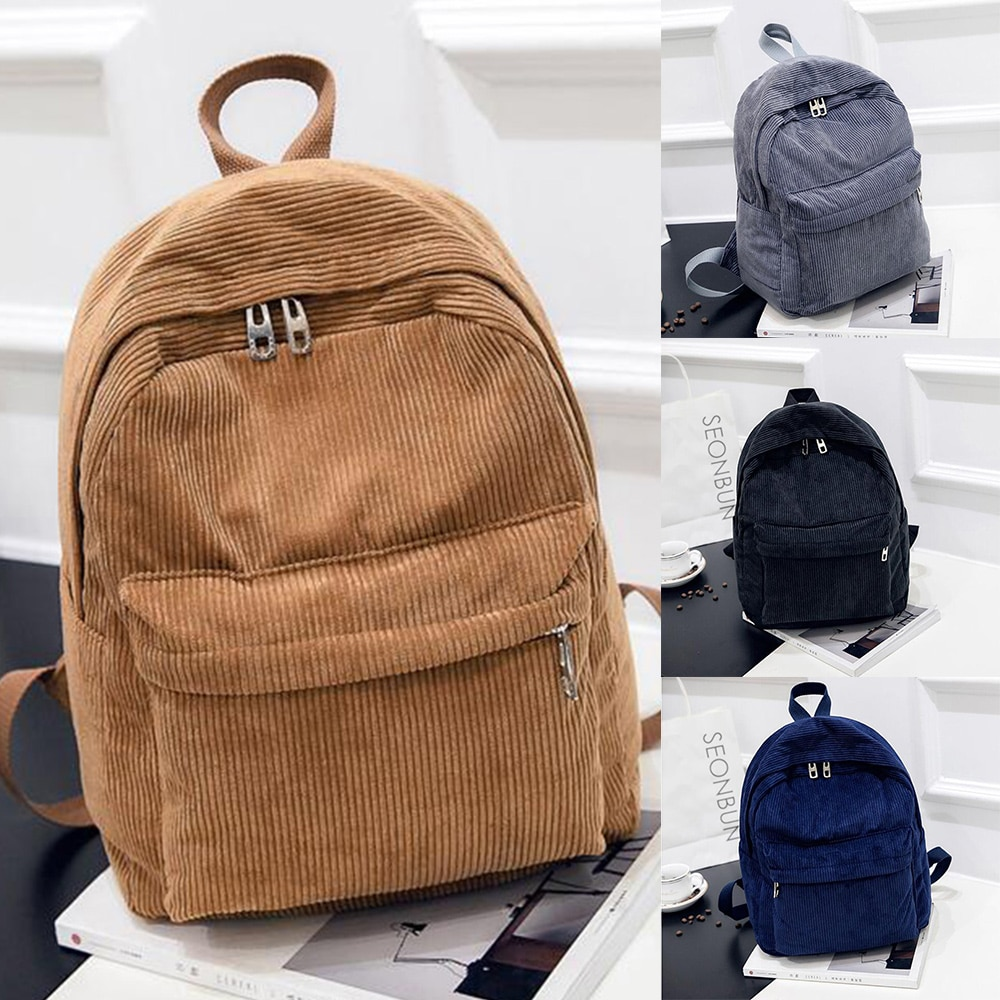 New College Style Backpack Corduroy Front Pocket Men and Women Backpack Large Capacity Multi-purpose