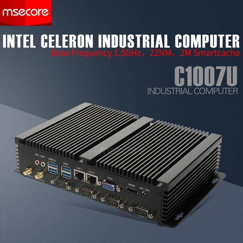 MSECOREC1007U I5 3317U sin ventilador MINI PC Windows 10, ordenador de escritorio Industrial, Nettop barebone HTPC HDMI VGA 2 * LAN 4 * COM WiFi