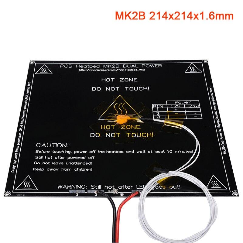 Запчасти для 3D-принтера MK2B heatкровать 12/24 в без/с термистором NTC100K кабель светодиодный резистор 214x214x1,6 мм Подогрев кровати для Stiker