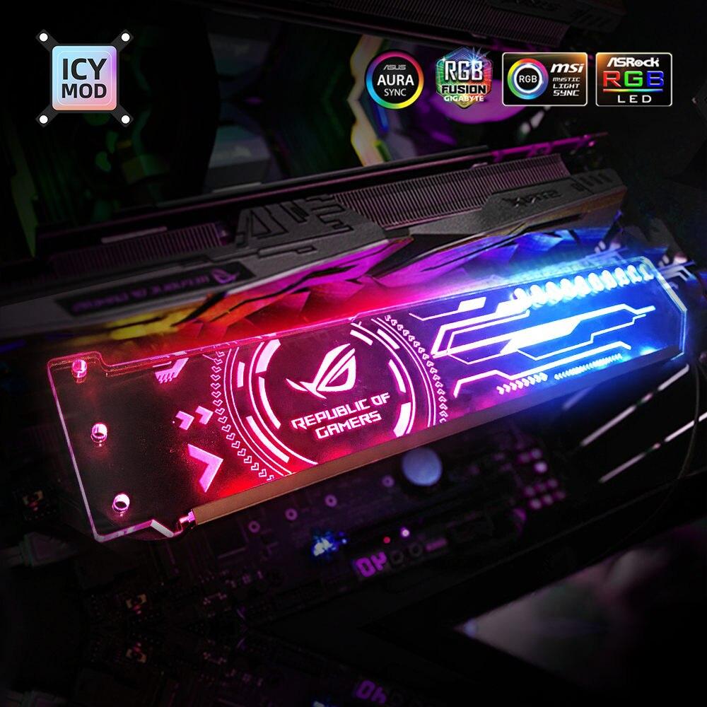 RGB VGA Holder Customizable A-RGB Horizental GPU Bracket Video Card Support 5V 3Pin Customize AURA 12V Water Cooler Custom MOD