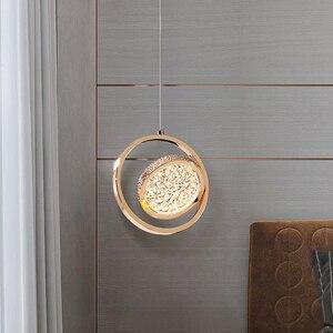Modern LED Pendant Lights Luxury Water Pattern Hanging Suspension Indoor Lighting Designer Bedroom Ring Fixture Kitchen Lamps