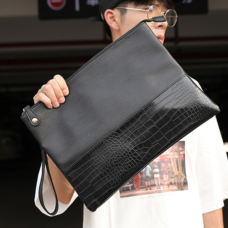 Badenroo Male Envelope bag Simple Alligator Crocodile Leather Business Male Clutch Shoulder bag Fash