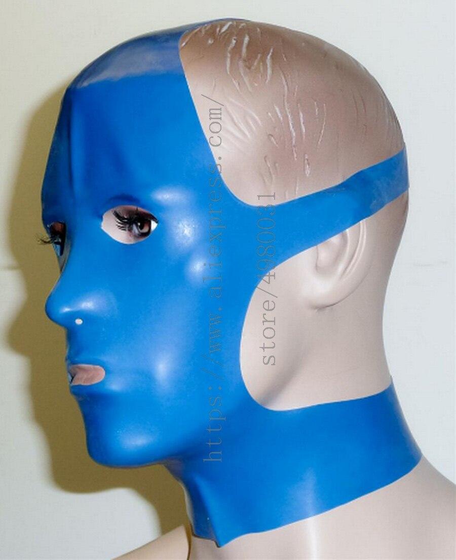 بدلة صنم للبالغين من اللاتكس الأزرق ، غطاء رأس من اللاتكس الطبيعي ، عيون مفتوحة وأمامية ، سمك 0.4 مللي متر