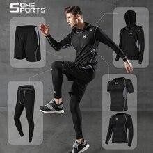 Jogging trajes para hombre 5 uds ropa deportiva de compresión para gimnasio ropa de secado rápido correr fitness chándal entrenamiento conjunto masculino de poliéster