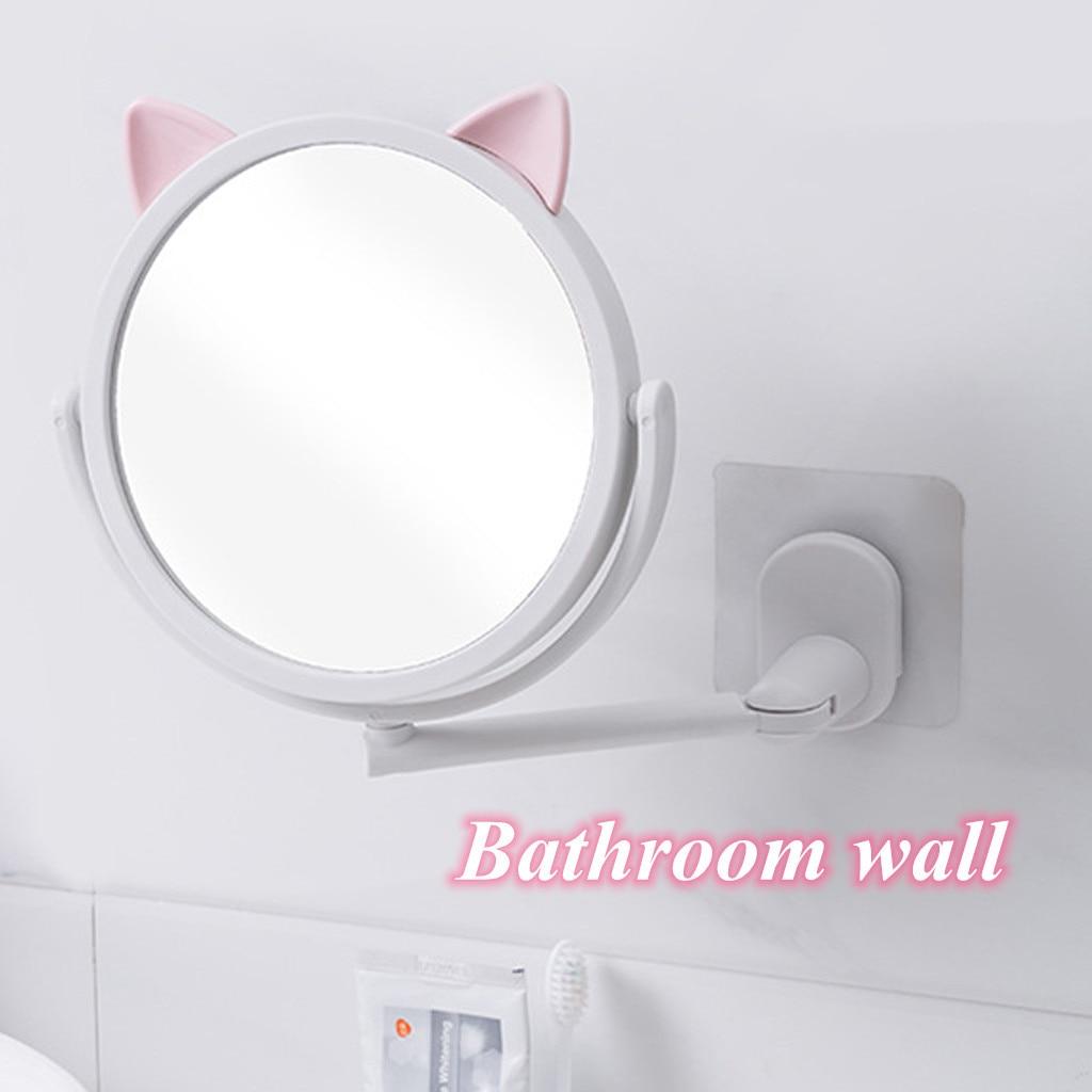 Косметическое зеркало с мультяшными кошачьими ушками телескопическое для
