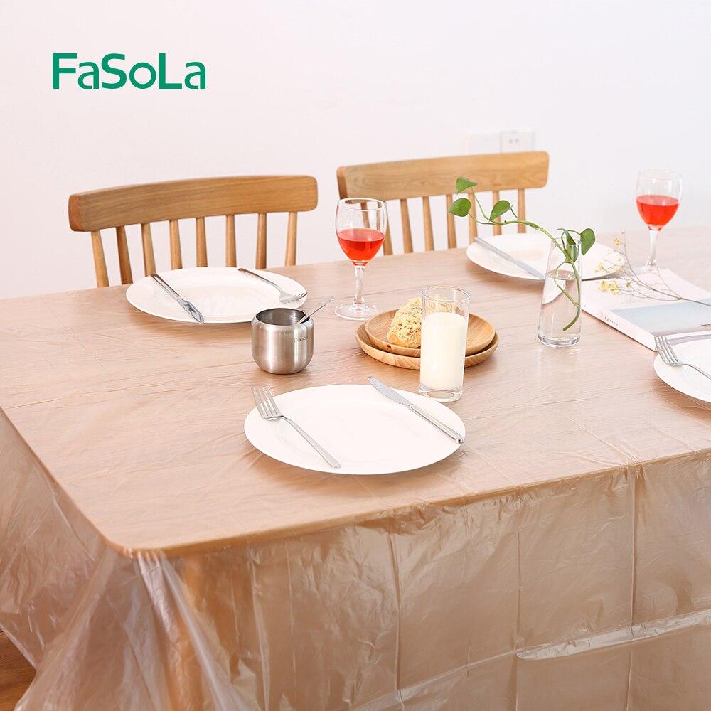 FaSoLa مفرش طاولة مستطيل استخدام مرة واحدة, غطاء طاولة بلاستيك HDPE مقاوم للماء