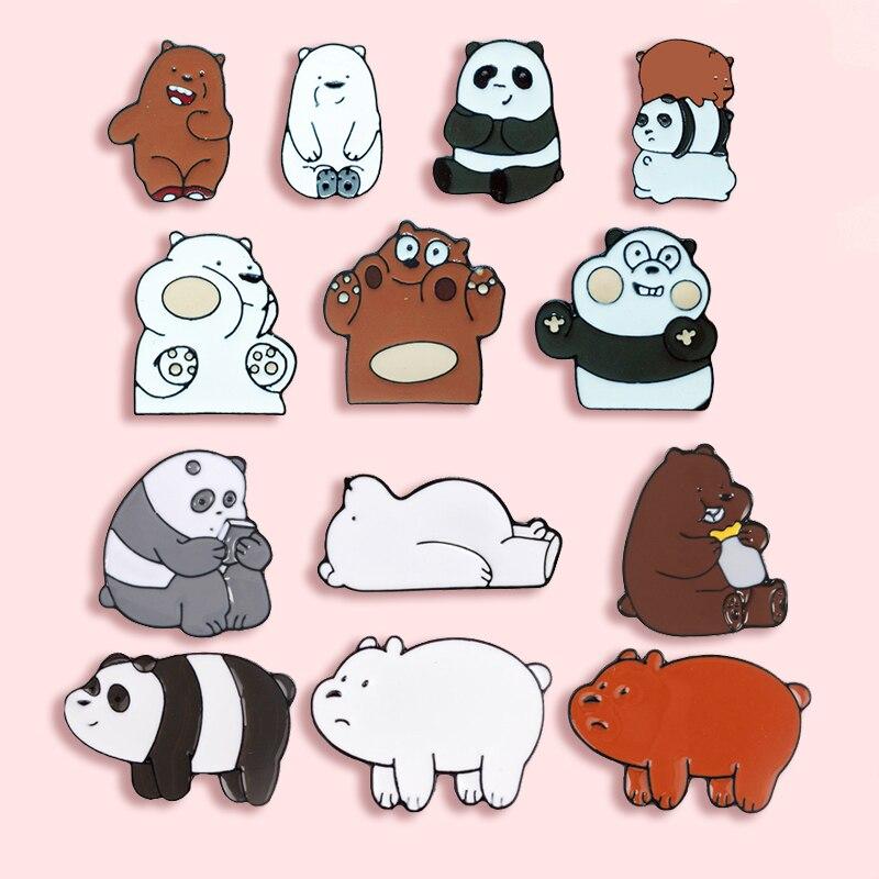 Мультяшная Милая панда металлическая брошь с эмалью Забавный коричневый Медведь Полярный значок медведь булавка маленькая модная детская одежда рюкзак ювелирные изделия