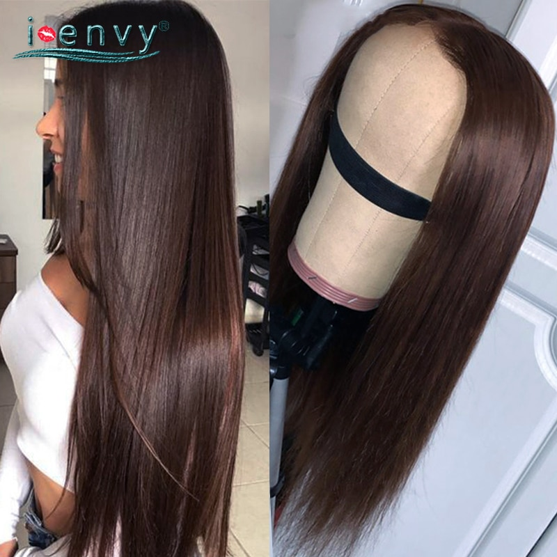 Transparent Lace Frontal Wig Dark Brown Human Hair Wigs Peruvian Colored Straight Lace Front Wigs For Women Human Hair Brown Wig