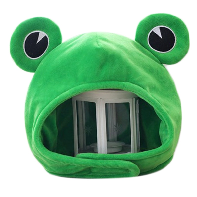 Novelty Funny Big Frog Eyes Cute Cartoon Plush Hat Toy Green Full Headgear Cap Cosplay Costume Party Dress Up Photo PropNovelty