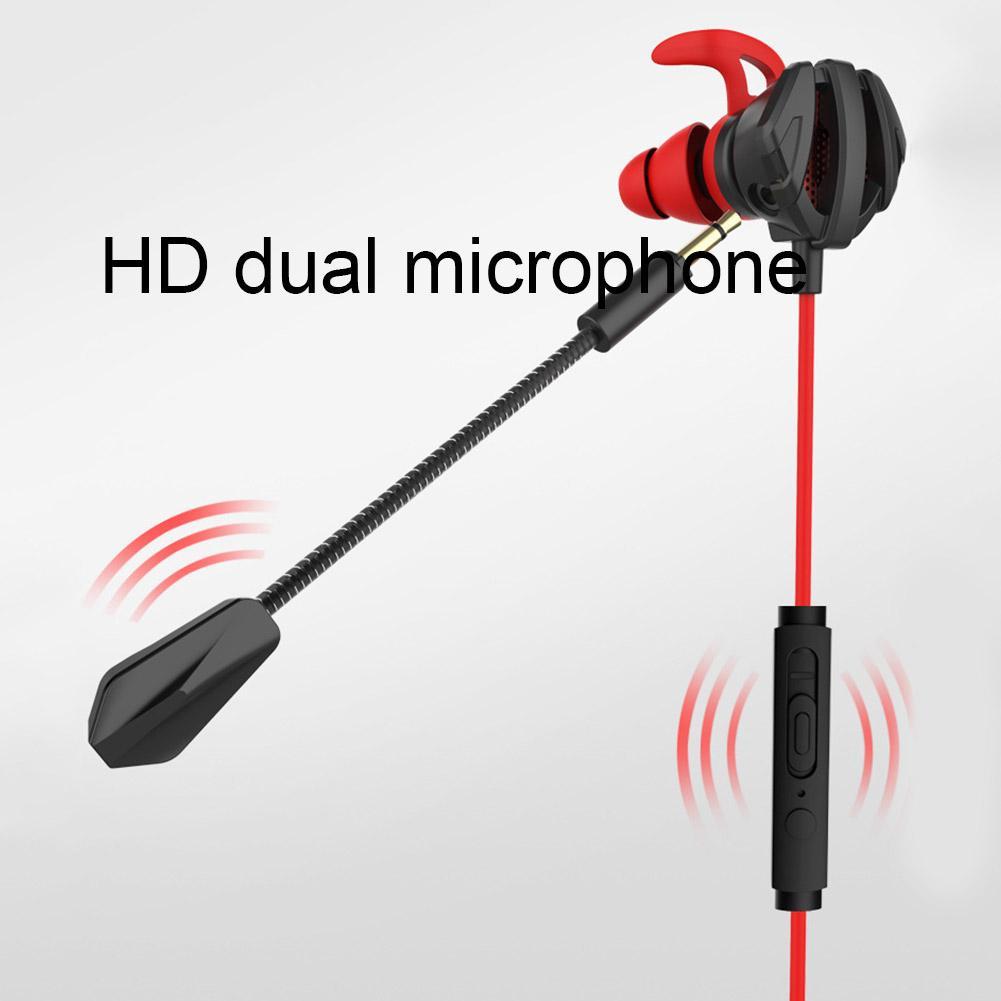 Портативные проводные наушники-вкладыши с динамическим шумоподавлением, игровые компьютерные наушники с двойным микрофоном