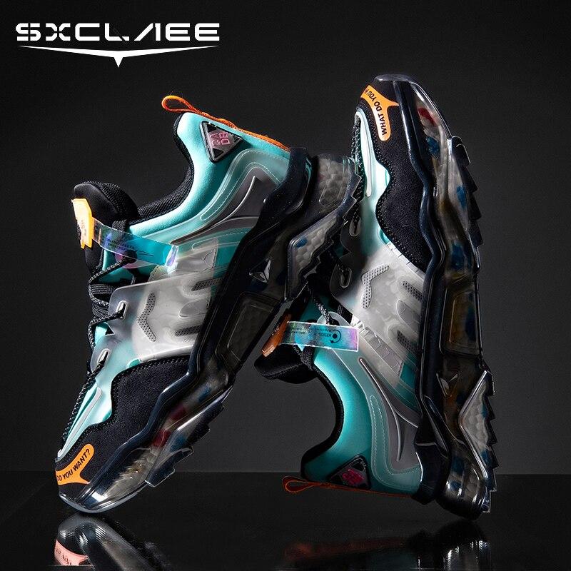 Sxclaee خفيفة الوزن مريحة بولي PU حذاء كاجوال موضة اللون كتلة أحذية رياضية عدم الانزلاق مقاومة للاهتراء أحذية رياضية عالية المرونة