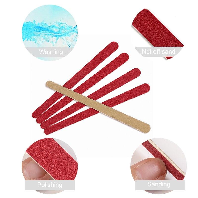 Professionnel Woody lime à ongles tampon Double face lavable meulage polissage Nail Art pédicure outils de manucure 180 # & 240 #