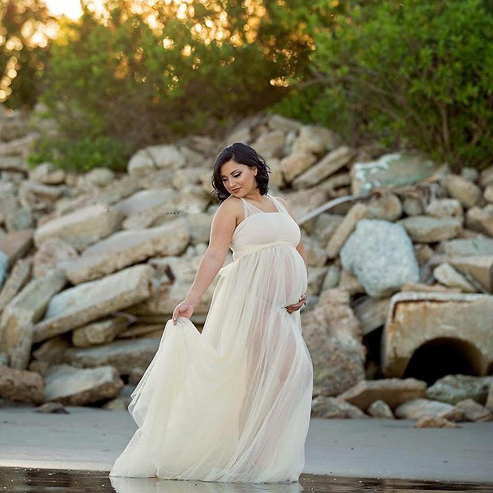 Tulle Maternity Dresses Sleeveless Pregnant Women Maxi Tulle Gown Sexy one- Neck Bohemia Pregnancy Dress for Photo Shoot enlarge