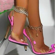 Termainoov Women Sandals High Heels Pointed Toe Transparent PVC Metal Chain Heeled Fashion Party Sho