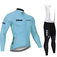 2021 strava team cycling jersey set mtb road bike breathable long sleeve shirt bicycle clothing with 9d gel pad bib pants