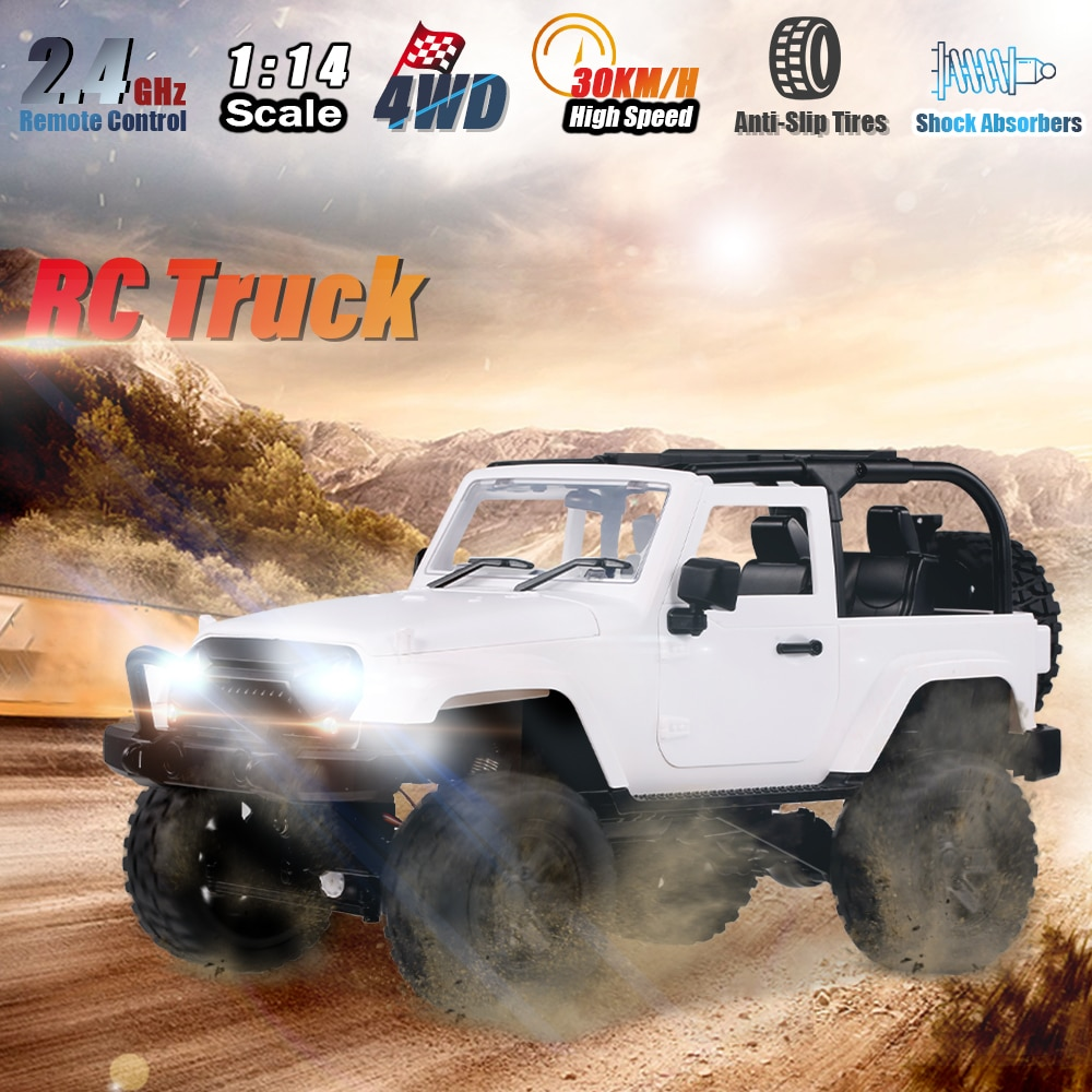 1/14 4WD 2.4G High Speed RC Truck F1/F2 Ratio Remote Control Cars LED Light Off-Road Car dirt Racing Vehicle Toys for Boys kids enlarge