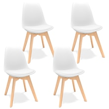 4Pcs White Dining Chairs DSW Replica Eiffel ABS Chair Cafe Chair Side Chair with Leather Seat Pad for Kitchen Lounge Dining Room