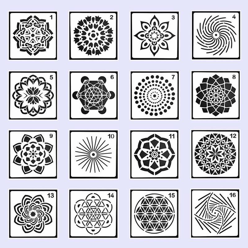 Mandala rond géométrie bricolage stratification pochoirs peinture murale Scrapbook coloriage gaufrage Album décor papier carte modèle outils
