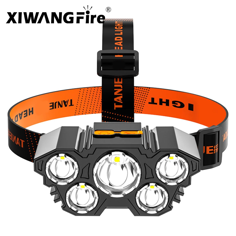 New Trend Portable 5 LED Headlamp USB Rechargeable Head Flashlight Built-in 18650 Battery Headlight Head Horch for Hiking Riding