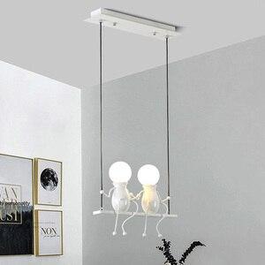 E27 Creative Little Man Swing Pendant Light Restaurant Bar Cafe Swing Pendant Lamp Baby Kids Children's Room Hanging Light