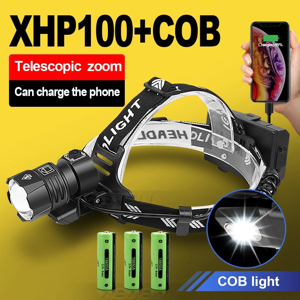 500000 LM XHP100 Powerful Led Headlamp 18650 XHP90.2 Led Headlight Rechargeable USB Head Flashlight