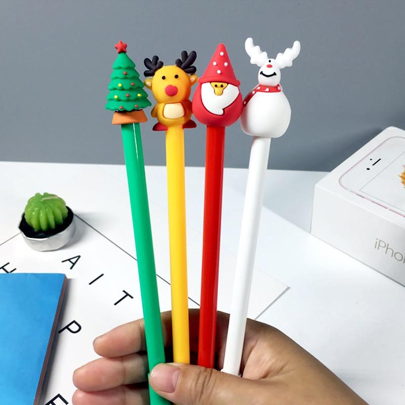 Lote de 4 unidades de bolígrafos de Gel navideños de Santa Claus, Reno, muñeco de nieve, plumas para firma con tinta negra de 0,5mm, regalo de papelería, útiles escolares de escritura