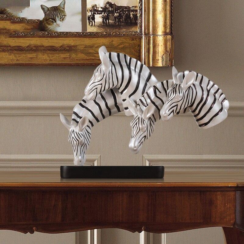Hogar creativo moderno 4 cabeza de cebra decoración sala de estar entrada del dormitorio Hotel restaurante Animal artesanías accesorios de decoración