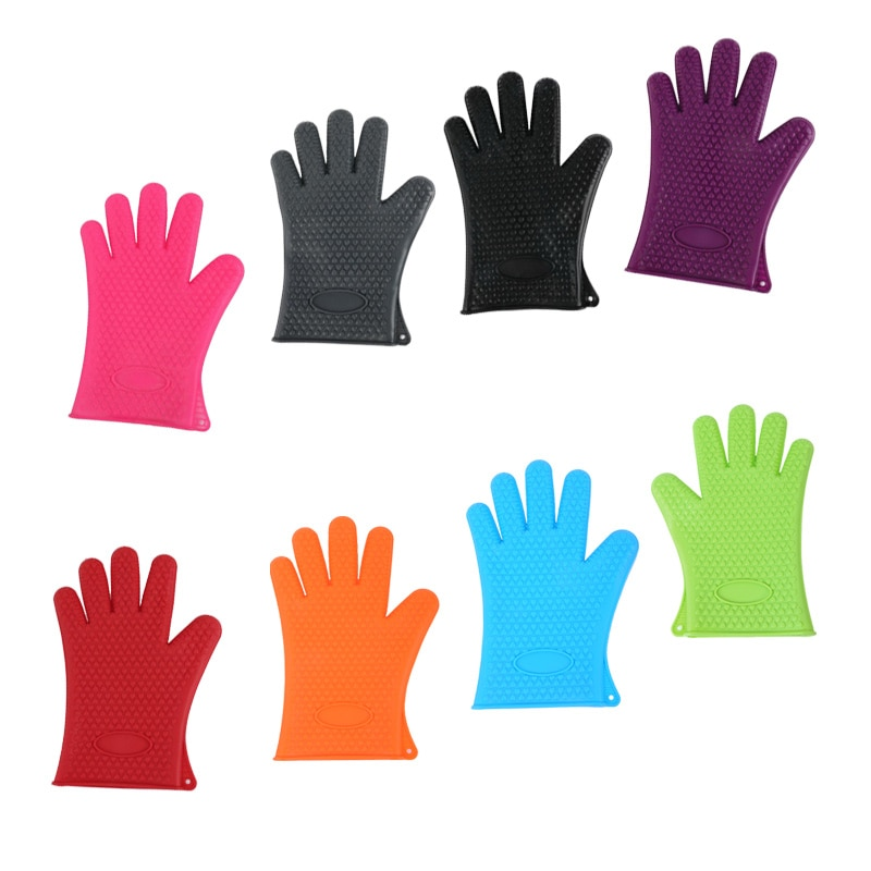 Silicone Oven Mitt Gloves Heat Resistant Full Finger Hand Wrist Protection Single Mitts