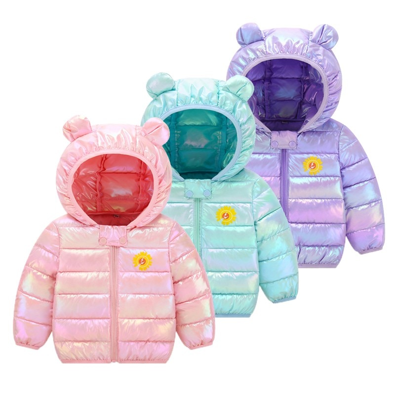 Cute Children's Down Padded Jacket 1-8 Years Old Boys Girls Flower Winter Thickening Parkas Kids Col