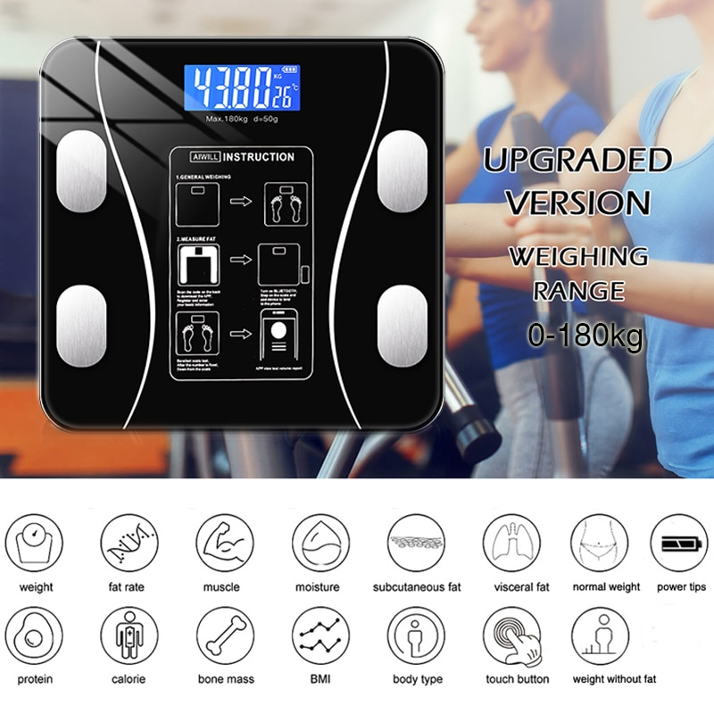 Bluetooth Body Fat Scale BMI Scales Smart Wireless Digital Bathroom Weight Scale Body Composition Analyzer Weighing Scale enlarge